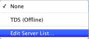 Dropdown menu selected with option for Edit Server List highlighted.