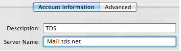 Account Information tab selected. Server Name field highlighted and populated with Mail.tds.net.