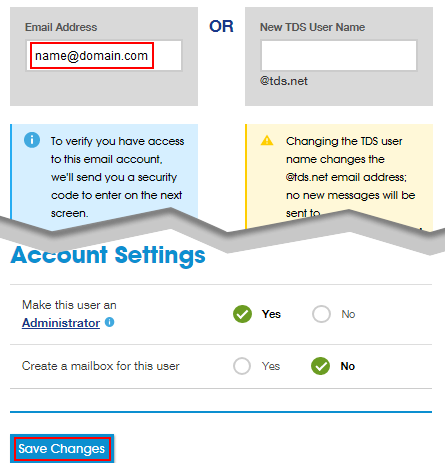 Email address field, the word Or, New TDS user Name field. Account Settings options below and Save Changes button.