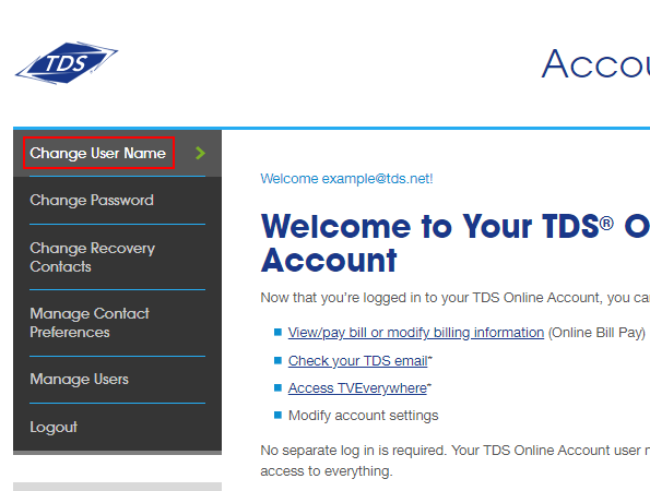 TDS Online Account. Manage Account menu on left. Change User Name option highlighted.
