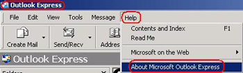 Title bar highlighted. Help button highlighted and active, displays dropdown. About Microsoft Outlook Express highlighted.