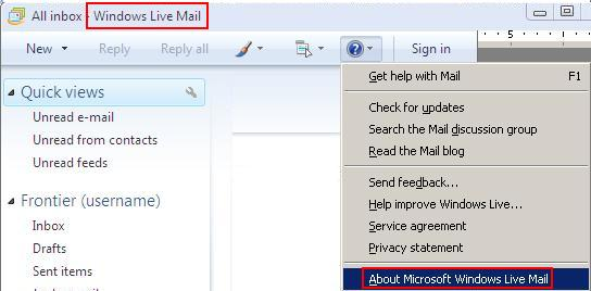 Title bar highlighted. Question Mark icon selected, displays dropdown. About Microsoft Windows Live Mail highlighted.