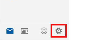 Horizontal navigation icons: envelope, keyboard, smiley face, and gear. The gear icon is highlighted.