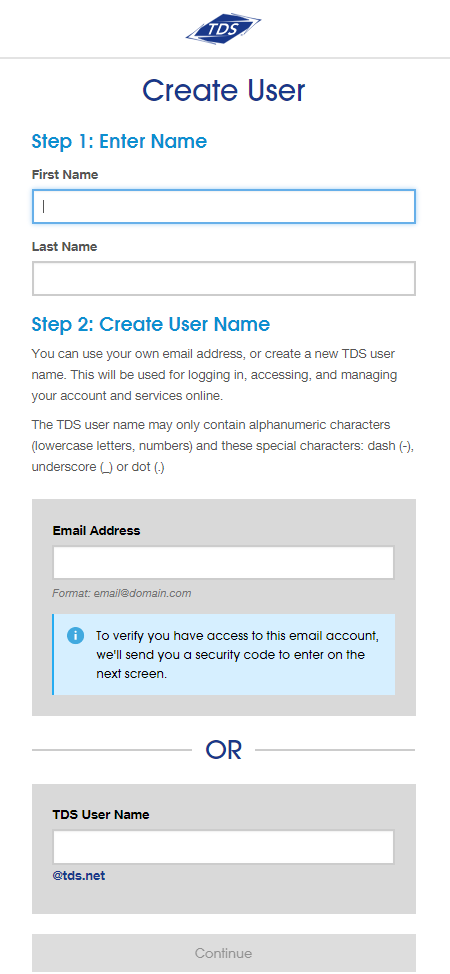 Create user, fields for first name, last name. Options to enter email address or create TDS user name. Continue button.