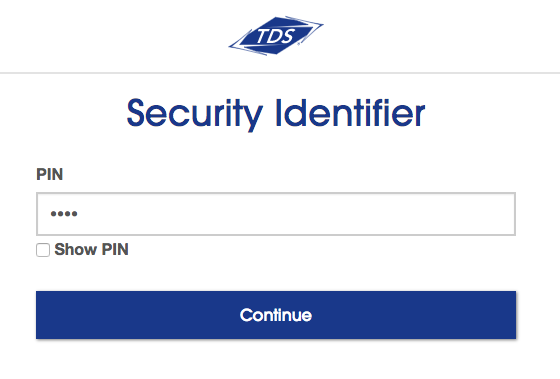 Security Identifier page. Field for PIN (Account Password)