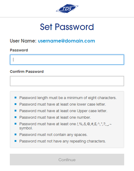 Fields for Password and Confirm Password. Continue button.