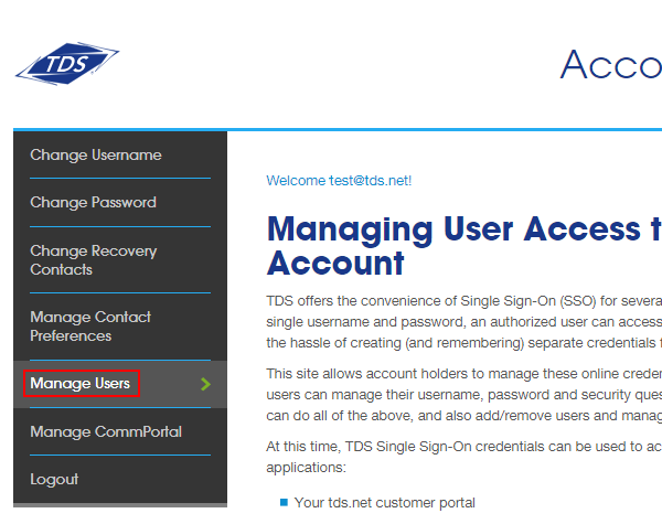 My Account page with Manage Users option highlighted in left navigation