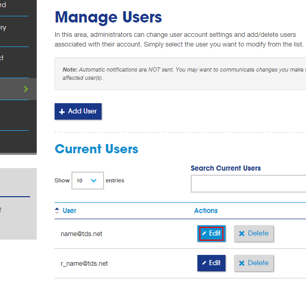 Manage Users section with list of users. Edit button next to username is highlighted.