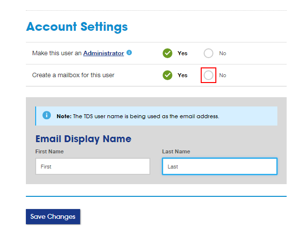 Account Settings section with No option highlighted next to Create a mailbox for this user. Save Changes button below.