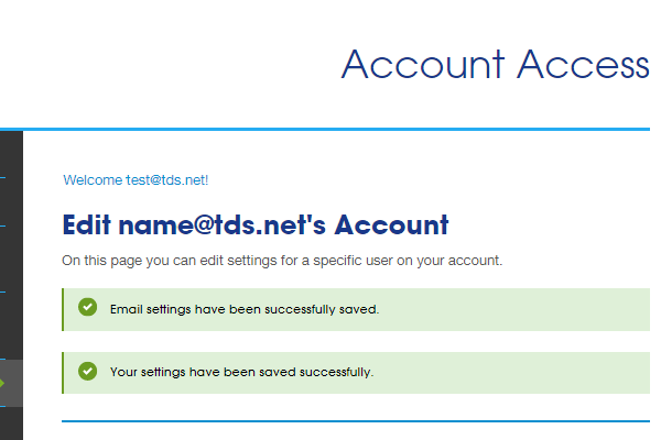 Top of account page. Success message confirms that settings have been saved.