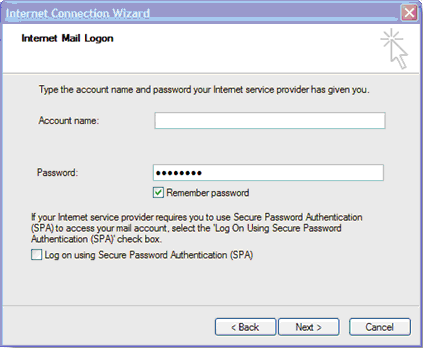 fields for account name and password