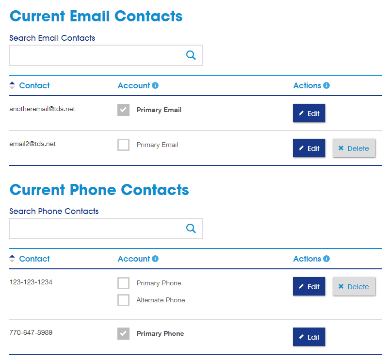 Current email and phone contacts Screenshot