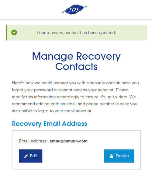 Manage recovery contact has been updated Screenshot